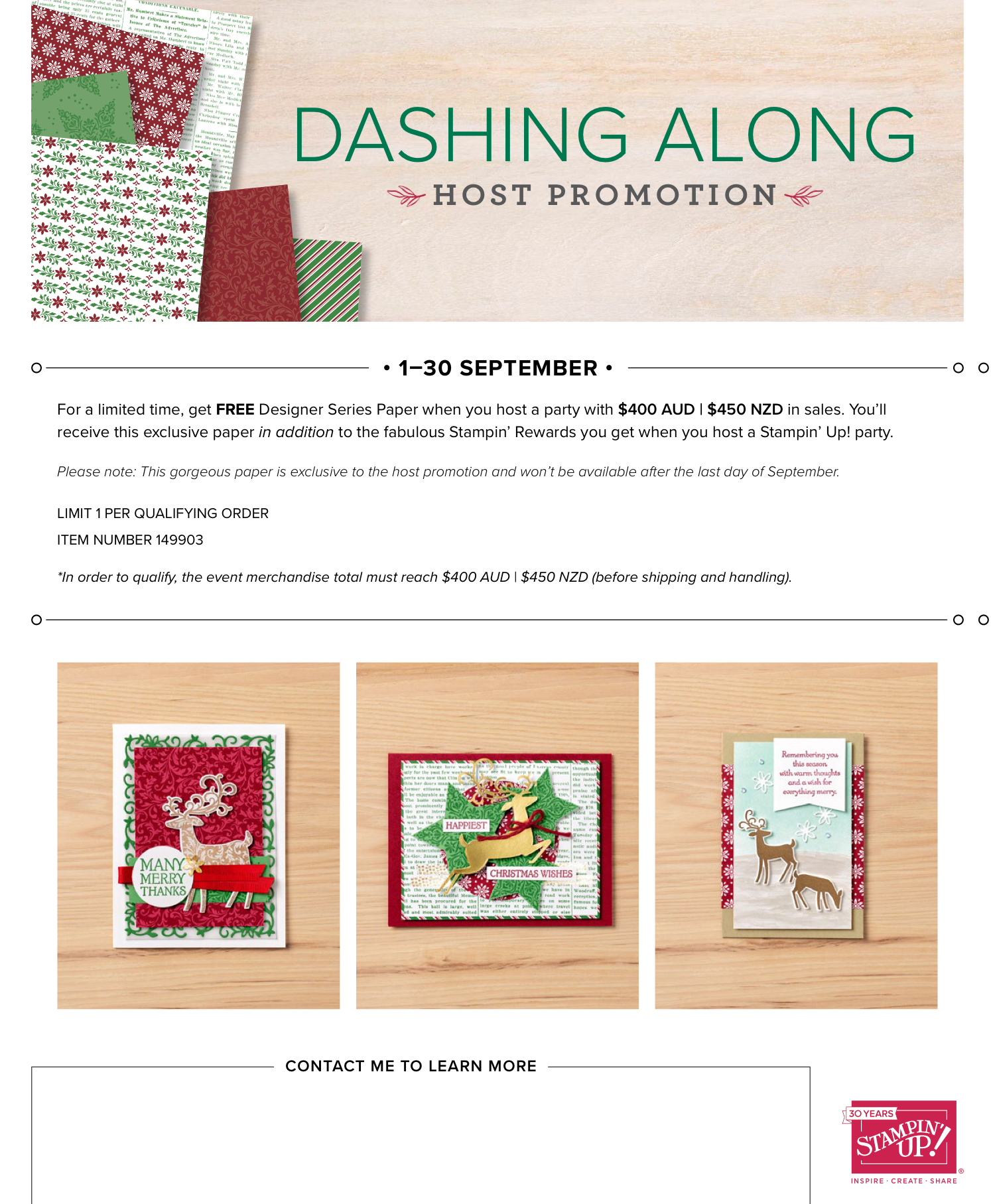 Stampin' Up Dashing Along Promotion
