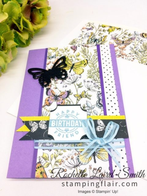 Handmade card with Botanical Butterfly patterned paper and Embossed butterfly