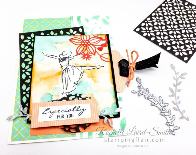 Step-it-Up Sunday Stampin' Up! Beautiful You stamp set Avid Crafter, Lasercut paper, Delicately Detailed Specialty DSP, Masking, Stencil