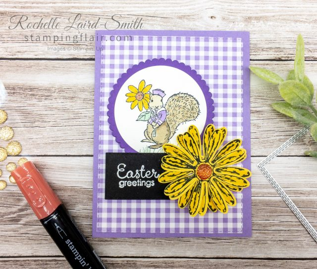 Easter Card with Gingham and Squirrel