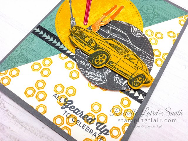 Stampin Up, Geared up Garage, Classic Garage, Masculine car card,