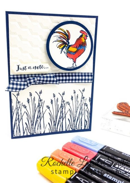 Step-it-Up Sunday, Casual Crafter, Rooster with Stampin' Blends alcohol markers, Country look handmade card
