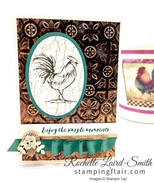 Stampin Up Home to Roost Stamp set, Saleabration, Tin Tile embossing folder with tarnished foil technique, ribbon draping