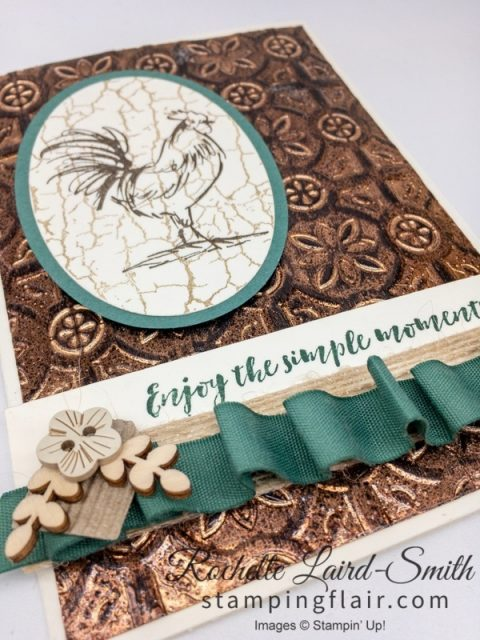 Tarnished Foil technique with Tin Tile embossing folder and hand stamped rooster, Stampin Up Home to Roost stamp set