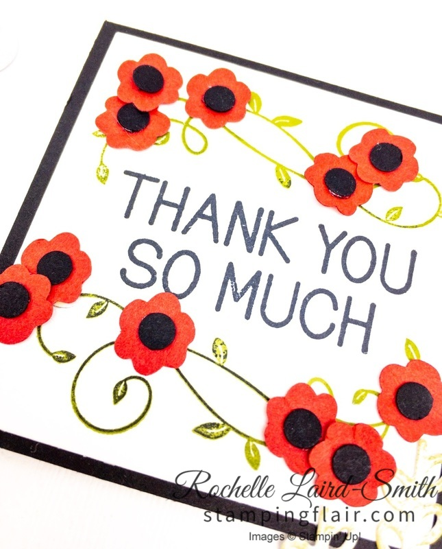 Poppies with Bitty Blooms punch, ANZAC Day handmade card