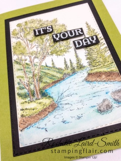 Scenic card with Stampin' Up! Peaceful Place stamp set, water colours