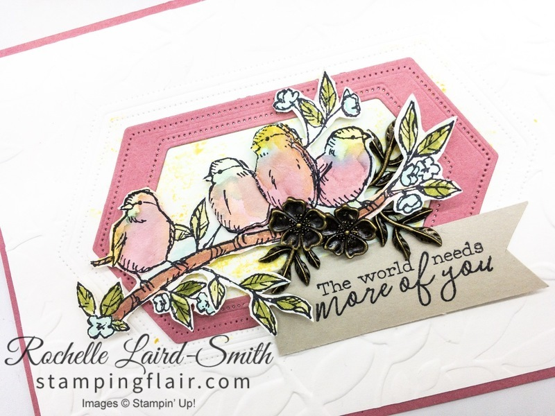 Vintage Bird Ballad elements to decorate handmade card