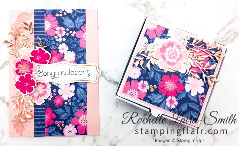 Coordinated card and gift box with Everything is Rosy Product Medley by Stampin' Up!
