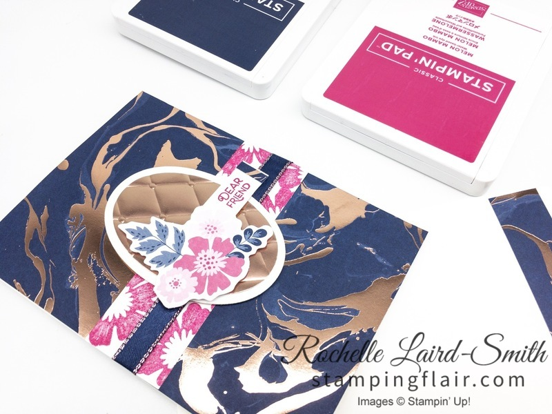 Everything is Rosy, Night of Navy card with Rose Gold and Flowers, Stampin' Up!