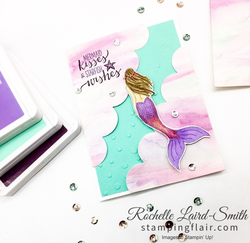 Mermaid Wishes Stamp set by Stampin' Up! create a handmade little girl card