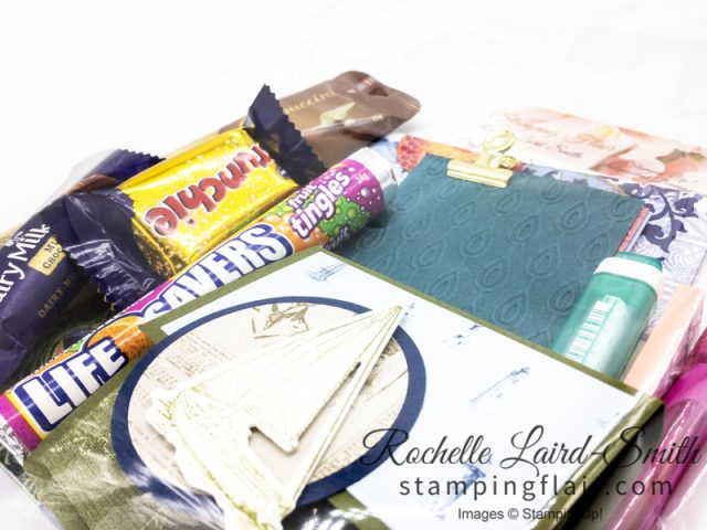 Goodie bags filled with items from Stampin Up catalogue for launch