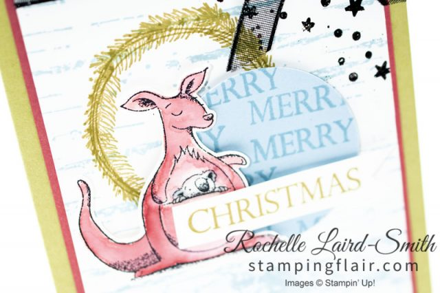 Kangaroo and koala handmade card for Christmas