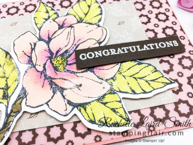 Magnolia flower handmade card, Stampin' Up!, Alcohol markers, Memories & More