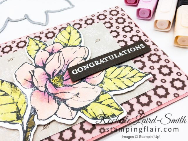 Good Morning Magnolia Congratulations handmade card in pink