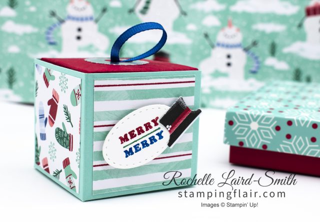 Pull out Cube DIY gift box with Let it Snow DSP