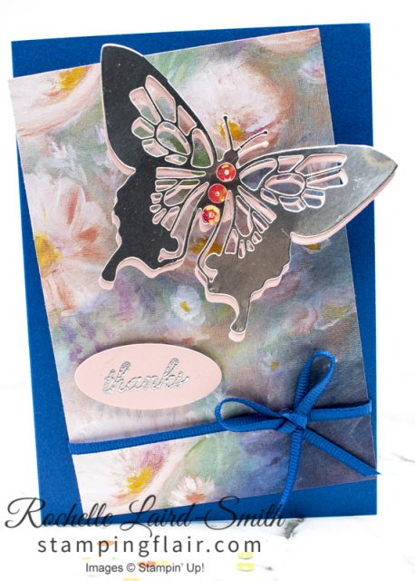 Create a handmade card with simple layout using Monet type Perennial Essence paper with butterfly