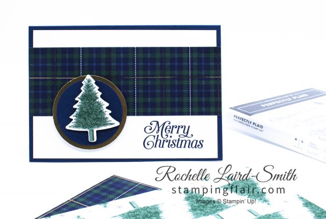 Night of Navy Plaid Christmas card with punched out Pine Tree