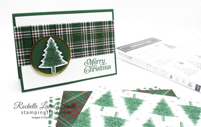 Create a quick Christmas card with the Wrapped in Plaid Stampin' Up! bundle