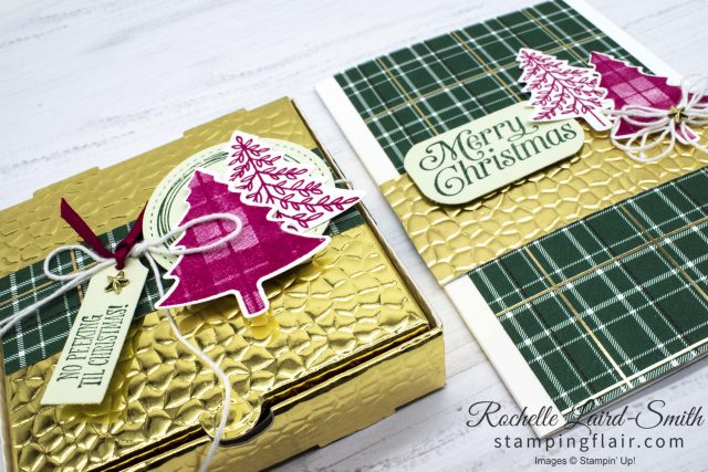 Coordinated handmade Christmas gift box and card in plaid