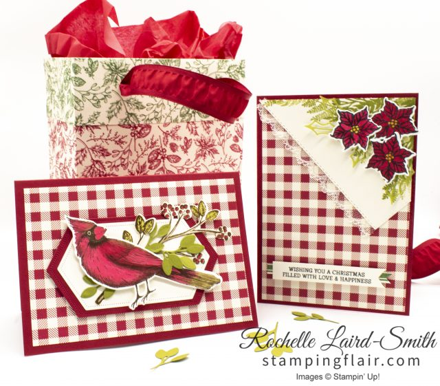 Handmade cards and gift bag with Toile Tidings suite from Stampin' Up!