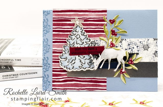 Most Wonderful Time Christmas card with Silver embossed Christmas tree and deer