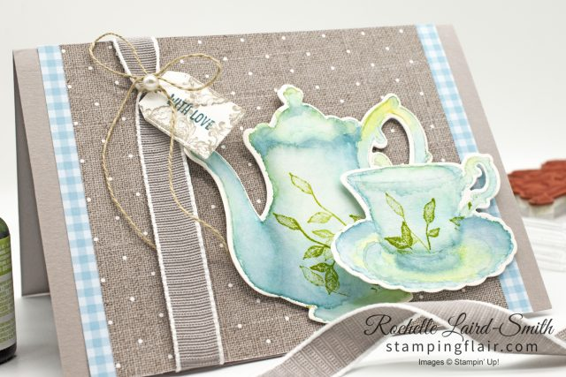 Watercolour wash using aqua painters and Stampin' Up! ink refills on Shimmery White cardstock