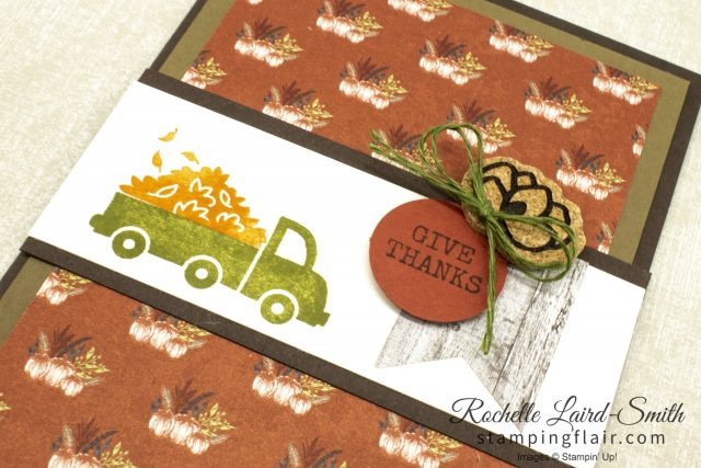 Autumn greeting card, pick up truck