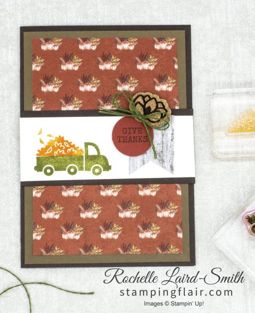 Stampers Showcase Blog Hop, Fall handmade card, Truck with autumn leaves