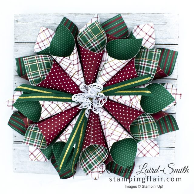 Wrapped in Plaid paper used to make a Christmas Wreath