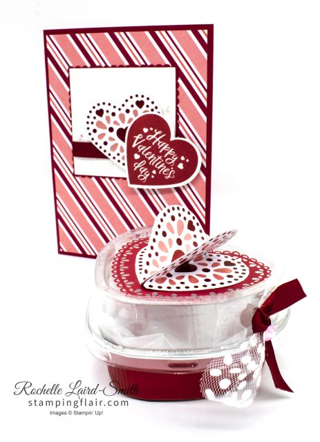 Coordinating card and gift box for Valentine's day with From My Heart suite