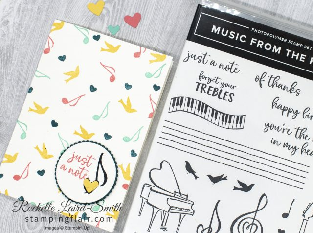 Background stamping creates music Designer Series Paper, Music from the Heart