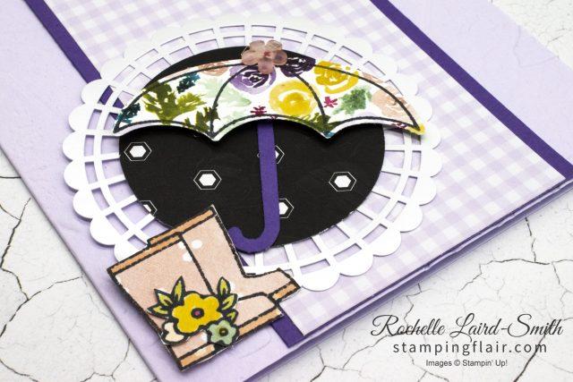 Umbrella card, Paper piecing, gumboots handmade card