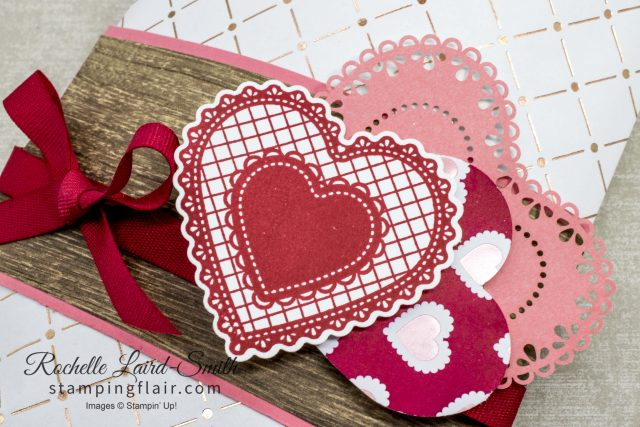 Stampin' Up! Heartfelt punch set used to decorate a gift bag, Stampin' Dreams Blog Hop