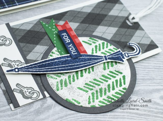 Gift Tag with a masculine theme with umbrella image