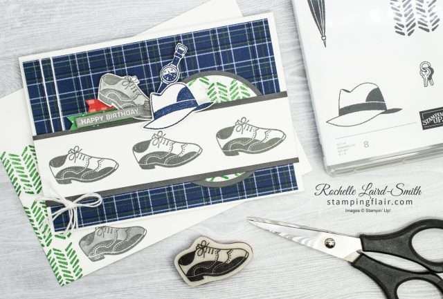 Handmade card with Men's shoes, hat and watch