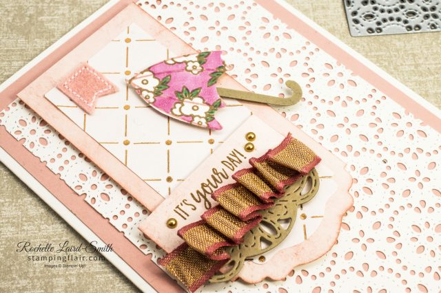 Stampin' Up! Umbrella card coloured with Stampin' Blends and decorated with lace