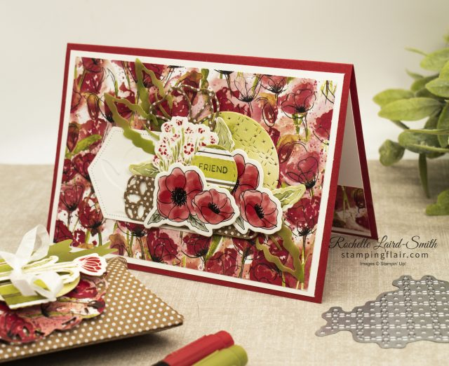 Gift box and card coordinated with Stampin' Up! Peaceful Poppies Suite