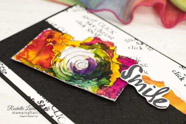 Handmade card for a photographer, Multi-coloured camera