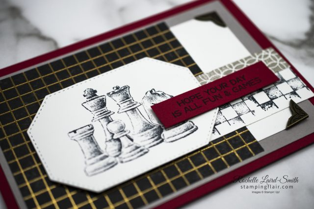 Casual Crafter card with Game On stamp set featuring chess pieces